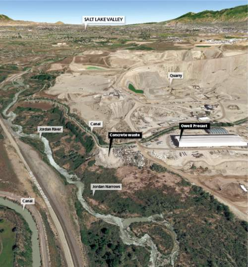 The dumping of concrete waste from a Bluffdale precast concrete plant may be threatening wetlands in the Jordan Narrows, an area along the Jordan River west of Interstate 15 near Point of the Mountain.