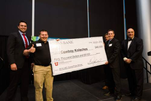 |  Courtesy   Cowboy Kolaches, a Wyoming business created by Brigham Young University students, won last year's prize. The founders devised a machine to mass-produce savory donuts with central European origins that come with jalapeno, cheese and sausage, among other fillings.