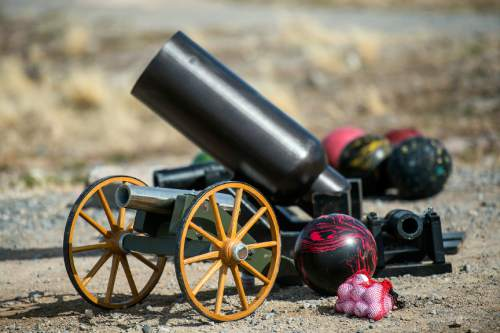Chris Detrick  |  The Salt Lake Tribune Some of Robert Kirby and friend Sonny's cannons waiting to be fired in Rush Valley Saturday March 21, 2015.