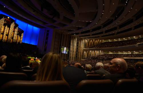 Scott Sommerdorf   |  The Salt Lake Tribune at the 184th General Conference of the Church of Jesus Christ of Latter Day Saints, Sunday, April 6, 2014.