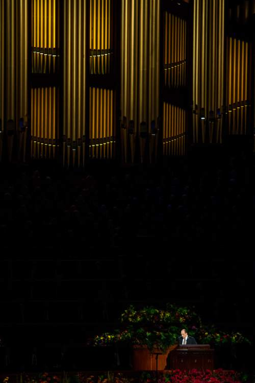 Chris Detrick  |  The Salt Lake Tribune LDS President Thomas S. Monson speaks during the morning session of the 184th Semiannual General Conference of The Church of Jesus Christ of Latter-day Saints at the Conference Center in Salt Lake City Saturday October 4, 2014.