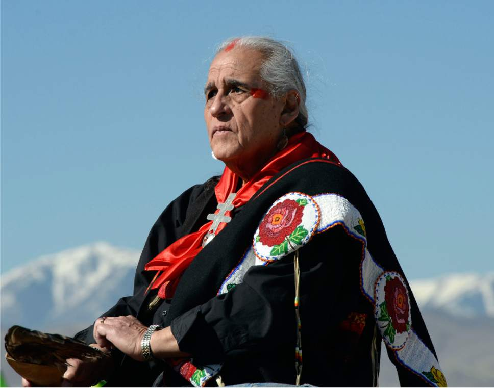 Al Hartmann  |  The Salt Lake Tribune  Northern Ute Lacee Harris was called on to give an opening prayer as UTA, Utah Indian tribal leaders and Gov. Gary Herbert gatherered at the Galena Sundial Monument dedication ceremony on the Jordan River Parkway Friday March 27.  Once there was controversy over FrontRunner violating an Indian burial ground in the area, and this sundial was part of the promised mitigation.