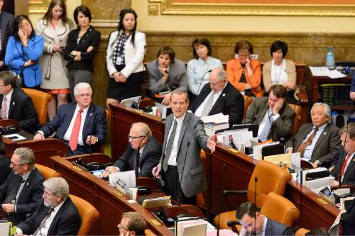 Trent Nelson  |  The Salt Lake Tribune Rep. Brad Dee, Ogden, sums up SB296 - Anti-discrimination and Religious Freedom Amendments, just prior to it passing in the House Chamber at the State Capitol Building in Salt Lake City, Wednesday March 11, 2015.