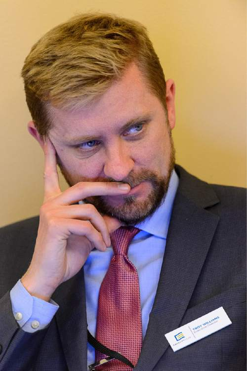 Trent Nelson  |  The Salt Lake Tribune Troy Williams of Equality Utah during discussion on SB297 - Protections for Religious Expression and Beliefs about Marriage, Family, or Sexuality, during a meeting of the House Judiciary Standing Committee, Wednesday March 11, 2015.