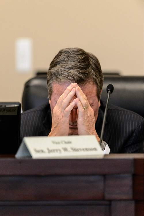 Trent Nelson  |  The Salt Lake Tribune Sen. Jerry Stevenson, Layton, during a meeting of the Executive Appropriations Committee, Wednesday March 11, 2015.