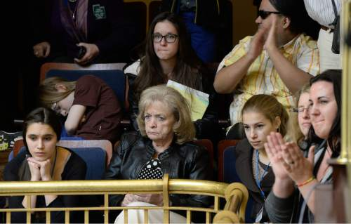 Francisco Kjolseth  |  The Salt Lake Tribune  Gayle Ruzicka, center, conservative political activist and leader of the Utah Eagle Forum, shows her discontent as the Utah Senate passes the nondiscrimination religious liberties bill SB296 on Friday, March 6, 2015.