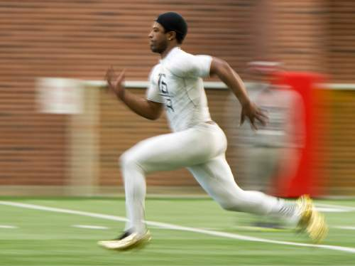 Rick Egan  |  The Salt Lake Tribune  Geoffrey Norwood runs the 40-yard-dash during the Pro Day workout at the Spence Eccles Field House, Thursday, March 26, 2015.