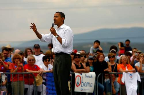 Chris Detrick  |  The Salt Lake Tribune  Democrat presidential hopeful Sen. Barack Obama, D-Ill., speaks to more than 500 supporters gathered at the entrance of Utah Olympic Park at Kimball Junction. The Illinois senator addressed the crowd for about 20 minutes on his way to a private fundraiser at the Park City home of supporter John Cumming.