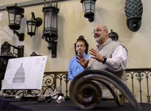Trent Nelson  |  The Salt Lake Tribune Robert Baird, right, explains the process of recasting pieces of the U.S. Capitol dome's cast iron ornamentation that cannot be repaired for replacement on the Capitol, at Historical Arts & Casting in West Jordan, Tuesday March 31, 2015.