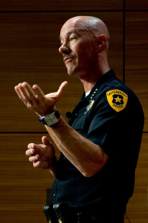 Jeremy Harmon  |  The Salt Lake Tribune Salt Lake City Police Chief Chris Burbank answers questions during a press conference about the June 18th incident where Officer Brett Olsen shot and killed Sean Kendall's dog, Geist.