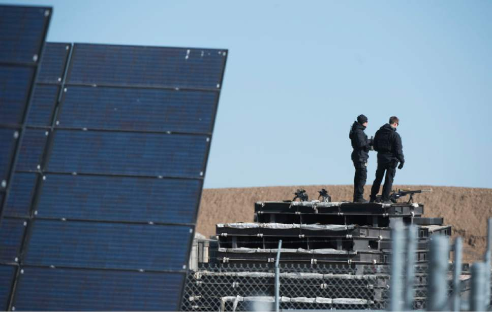 Steve Griffin  |  The Salt Lake Tribune  Authorities ready a solar panel field in Hill Air Force Base for the arrival of President Barack Obama where he delivered a speech in front of solar panels in Ogden, Friday, April 3, 2015.