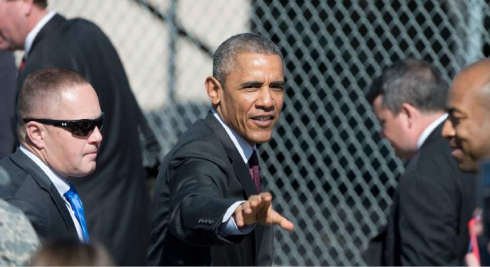 Steve Griffin  |  The Salt Lake Tribune  President Barack Obama waves to the crowd after he delivered a speech in front of solar panels at Hill Air Force Base  in Ogden, Friday, April 3, 2015.