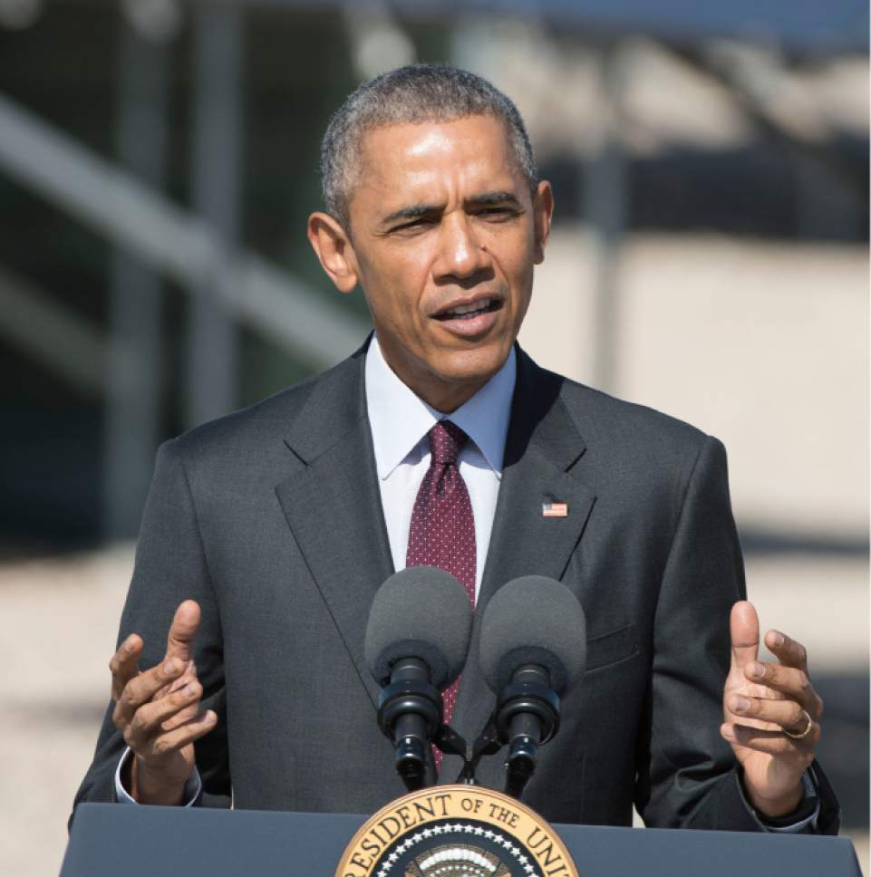 Steve Griffin  |  Tribune file photo  President Barack Obama delivers a speech in front of solar panels at Hill Air Force Base  in Ogden, Friday, April 3, 2015. Obama took time out during the trip to single out Sen. Orrin Hatch for praise in pushing to approve fast-track trade authority.