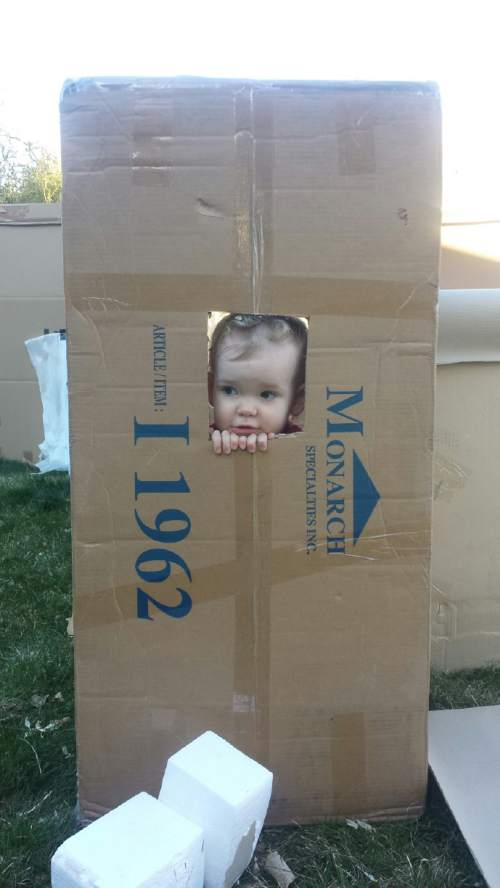 "(Courtesy Jeremy Trentelman) Ogden city has told Jeremy Trentelman to take down the cardboard castle he built for his son and daughter because it violates city code about ""junk."""