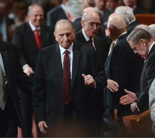 Al Hartmann  |  The Salt Lake Tribune  President Thomas S. Monson waves to the crowd at the conclusion of the 185th LDS General Conference Sunday April 5, 2015.