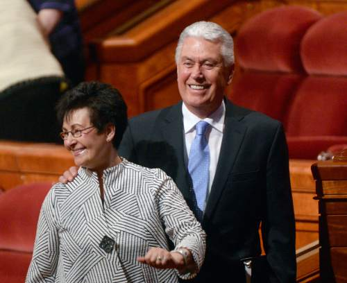 Al Hartmann  |  The Salt Lake Tribune  Second Counselor Dieter F. Uchtdorf and wife Harriet smile to the crowds at the conclusion of the 185th LDS General Conference Sunday April 5, 2015.