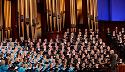 Al Hartmann  |  The Salt Lake Tribune  The Mormon Tabernacle Choir sings at the conclusion of the 185th LDS General Conference Sunday April 5, 2015.
