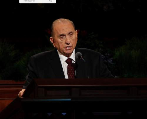 (LDS Church courtesy photo) President Thomas S. Monson announces three new temples at the Sunday morning session of LDS General Conference, April 5, 2015. © 2015 by Intellectual Reserve, Inc. All rights reserved.