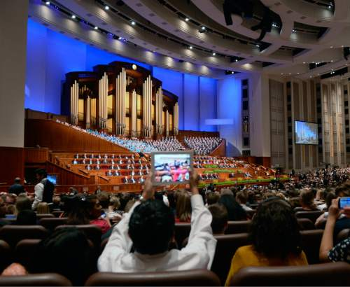 Al Hartmann  |  The Salt Lake Tribune  Thousands of LDS faithful gather for the second day of the 185th Annual LDS General Conference Easter Sunday April 5, 2015.