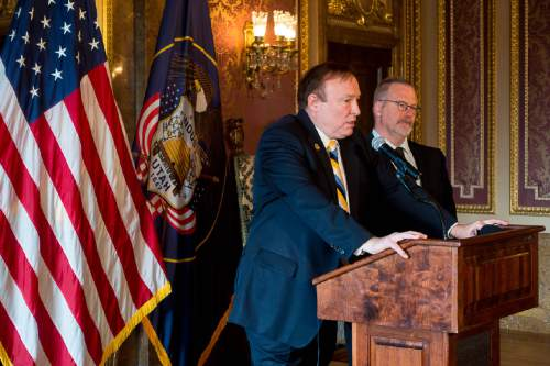 Trent Nelson  |  The Salt Lake Tribune Sen. Jim Dabakis, D-Salt Lake City and Sen. Stephen Urquhart, R-St. George speak about the call by the LDS Church for non-discrimination, during a press conference at the state capitol building in Salt Lake City, Tuesday January 27, 2015.