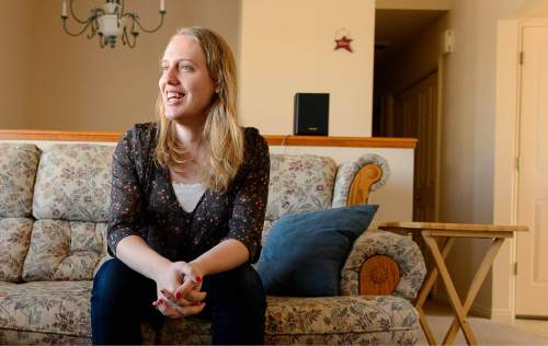 "In this March 10, 2015 photo, Annabelle Jensen, a transgender Mormon woman, poses for a photo at her home in Springville, Utah. Mormonism, with its emphasis on the physical link between bodies and spirits and its insistence that gender is ""eternal,"" initially made it tougher to acknowledge what was happening inside of them, but some transgenders have found psychological and theological peace, even divine approval, and a surprising welcome from their local LDS leaders and congregations. (AP Photo/The Salt Lake Tribune, Trent Nelson)"