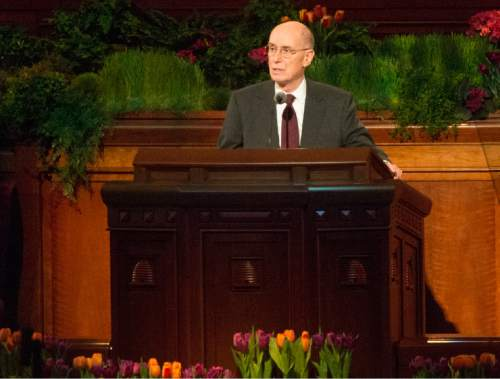 Rick Egan  |  The Salt Lake Tribune  President Henry B. Eyring speaks at the first session of the 185th LDS General Conference, designated as the General Women's Meeting, attended by all LDS females 8-years-old and older, Saturday, March 28, 2015.