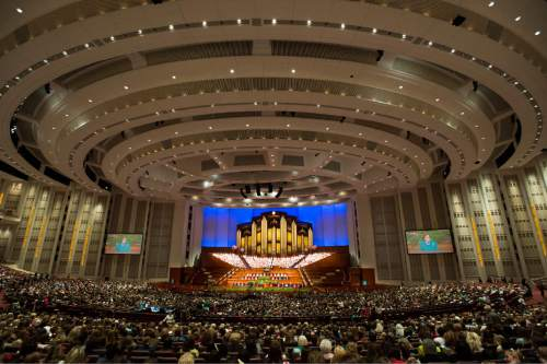 Rick Egan     The Salt Lake Tribune  LDS Women gather for the first session of the 185th LDS General Conference, designated as the General Women's Meeting, attended by all LDS females 8-years-old and older, Saturday, March 28, 2015.
