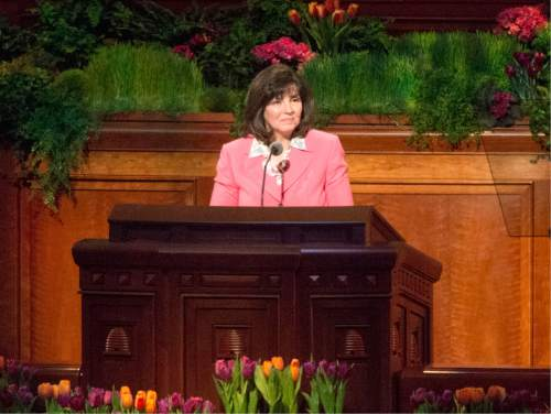 Rick Egan  |  The Salt Lake Tribune  Sister Carole M. Stephens  speaks at the first session of the 185th LDS General Conference, designated as the General Women's Meeting, attended by all LDS females 8-years-old and older, Saturday, March 28, 2015.