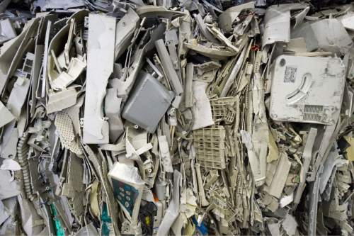 Rick Egan  |  The Salt Lake Tribune  Plastic parts from computer monitors are stacked at Metech Recycling in Salt Lake City, where they are recycled properly, Friday, March 20, 2015.