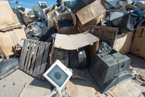 Rick Egan  |  The Salt Lake Tribune Stone Castle Recycling illegally moved thousands of old televisions to this lot in Clearfield around the time the Utah Department of Environmental Quality cited the company for various violations at its warehouse. Friday, March 20, 2015.