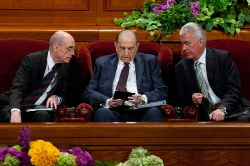 Chris Detrick  |  The Salt Lake Tribune LDS Church President Thomas S. Monson, President Henry B. Eyring,first counselor in the First Presidency, and President Dieter F. Uchtdorf, second counselor, talk at the morning session of the 183rd Semiannual General Conference of The Church of Jesus Christ of Latter-day Saints Saturday April 6, 2013. `