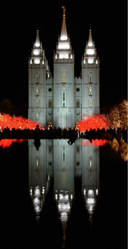 Leah Hogsten  |  The Salt Lake Tribune Christmas season on Temple Square officially opens each year when the millions of Christmas lights are turned on for the the first time, Friday, November 28, 2014 in Salt Lake City.