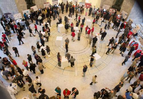 Rick Egan  |  The Salt Lake Tribune  University of Utah students gather in the Capitol rotunda to showcase their inventions during the fifth annual Bench-2-Bedside (B2B) competition at the Utah State Capitol Rotunda, Wednesday, April 8, 2015.