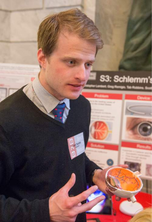 Rick Egan  |  The Salt Lake Tribune  Scott Thatcher talks about Schlemm's Stent Sieve he developed with his team, as University of Utah students showcased a variety of inventions during the fifth annual Bench-2-Bedside (B2B) competition at the Utah State Capitol Rotunda, Wednesday, April 8, 2015.