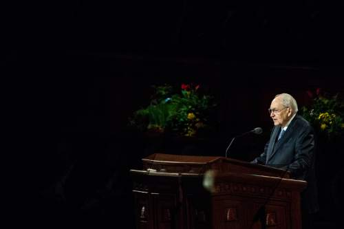 Chris Detrick     The Salt Lake Tribune Elder L. Tom Perry, of the Quorum of the Twelve Apostles, speaks during the 185th Annual LDS General Conference Saturday April 4, 2015.