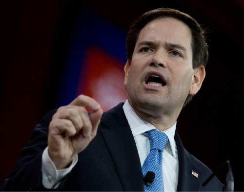 In this Feb. 27, 2015, photo, Sen. Marco Rubio, R-Fla. speaks during the Conservative Political Action Conference (CPAC) in National Harbor, Md. Rubio is telling allies he is running for president and plans to join the crowded field of Republican hopefuls as early as April.  (AP Photo/Carolyn Kaster)