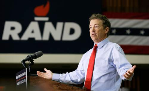 Republican Presidential candidate Sen. Rand Paul, R-Ky. speaks during a rally at the University of Iowa, Friday, April 10, 2015, in Iowa City, Iowa. (AP Photo/Charlie Neibergall)