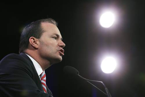 U.S. Sen. Mike Lee, R-Utah, speaks during the Freedom Summit, Saturday, Jan. 24, 2015, in Des Moines, Iowa. (AP Photo/Charlie Neibergall)
