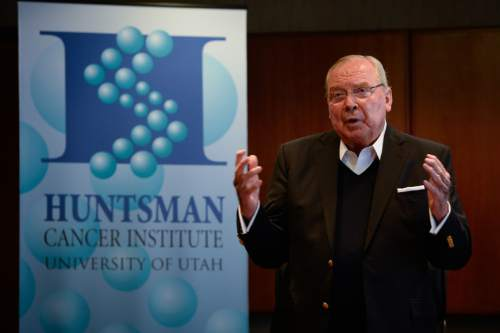 "Francisco Kjolseth  |  The Salt Lake Tribune Jon Huntsman Sr., holds a press conference to announce the release of Huntsman's autobiography, ""Barefoot to Billionaire,"" followed by a book signing at Deseret Book in downtown Salt Lake City on Friday, Oct. 3. 2014."