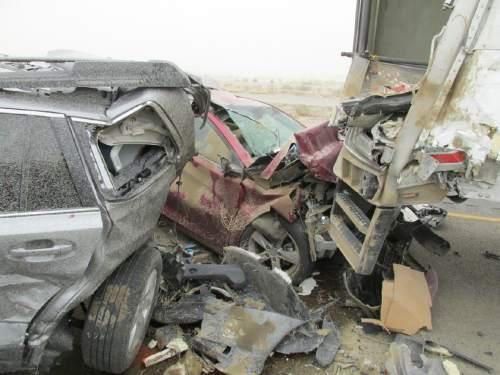 Courtesy  |  Utah Highway Patrol   Crash on I-80 April 14, 2015.