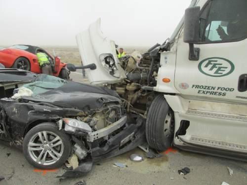 Courtesy  |  Utah Highway Patrol   The I-80 crash on Tuesday April 14, 2015.