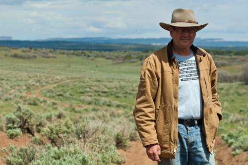 Chris Detrick  |  The Salt Lake Tribune Rancher Chris Odekerken poses for a portrait along K2825 on his property on Glendale Bench Wednesday May 8, 2013.