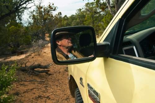 Chris Detrick  |  The Salt Lake Tribune Rancher Chris Odekerken drives his truck on K 2855 on his property on Glendale Bench Wednesday May 8, 2013.