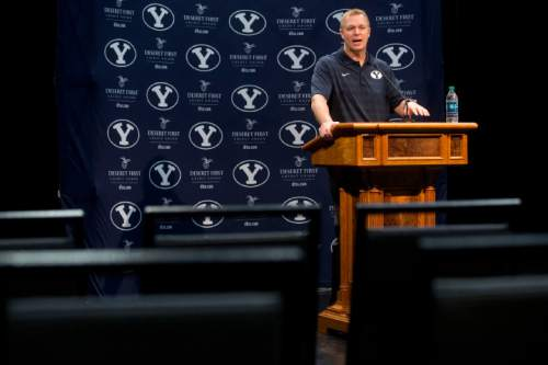 Bronco Mendenhall head coach at BYU speaks to media during national signing day Wednesday, Feb. 4, 2015, in Provo, Utah. (AP Photo/The Daily Herald, Sammy Jo Hester)