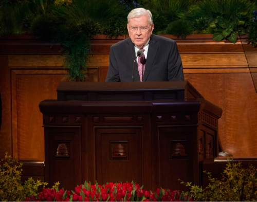 Rick Egan  |  Tribune file photo Elder M. Russell Ballard speaks in the 185th Annual LDS General Conference Priesthood Session in April.