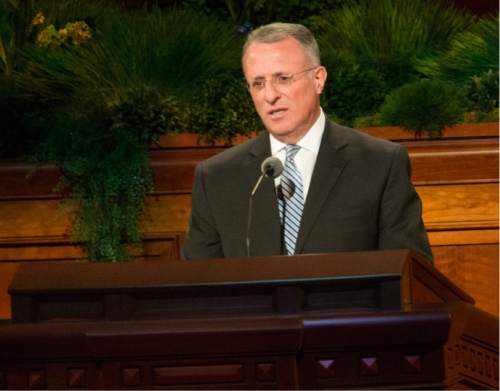 Rick Egan  |  The Salt Lake Tribune  Elder Ulisses Soares speaks in his native Portuguese in the185th Annual LDS General Conference Priesthood Session, Saturday, April 4, 2015.