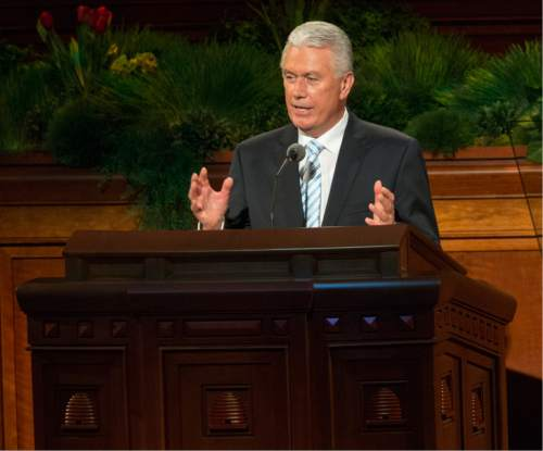 Rick Egan  |  The Salt Lake Tribune  Dieter F. Uchtdorf, second counselor in the First Presidency, speaks in the185th Annual LDS General Conference Priesthood Session, Saturday, April 4, 2015.