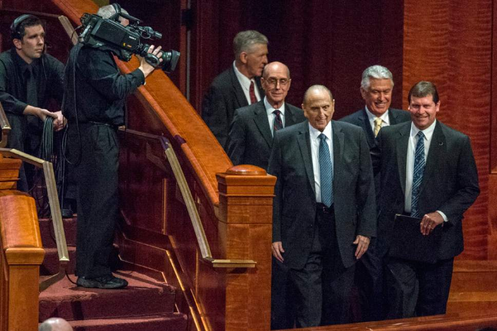 Chris Detrick  |  The Salt Lake Tribune LDS Church President Thomas S. Monson arrives during the afternoon session of the 185th Annual LDS General Conference Saturday April 4, 2015.