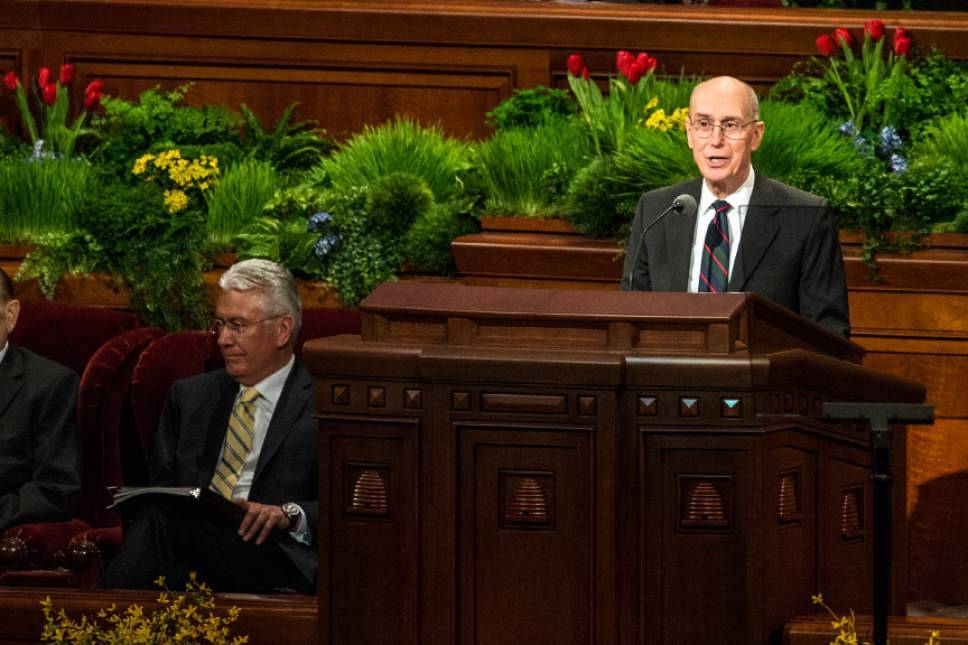 Chris Detrick  |  The Salt Lake Tribune President Henry B. Eyring, first counselor in the First Presidency, speaks during the afternoon session of the 185th Annual LDS General Conference Saturday April 4, 2015.
