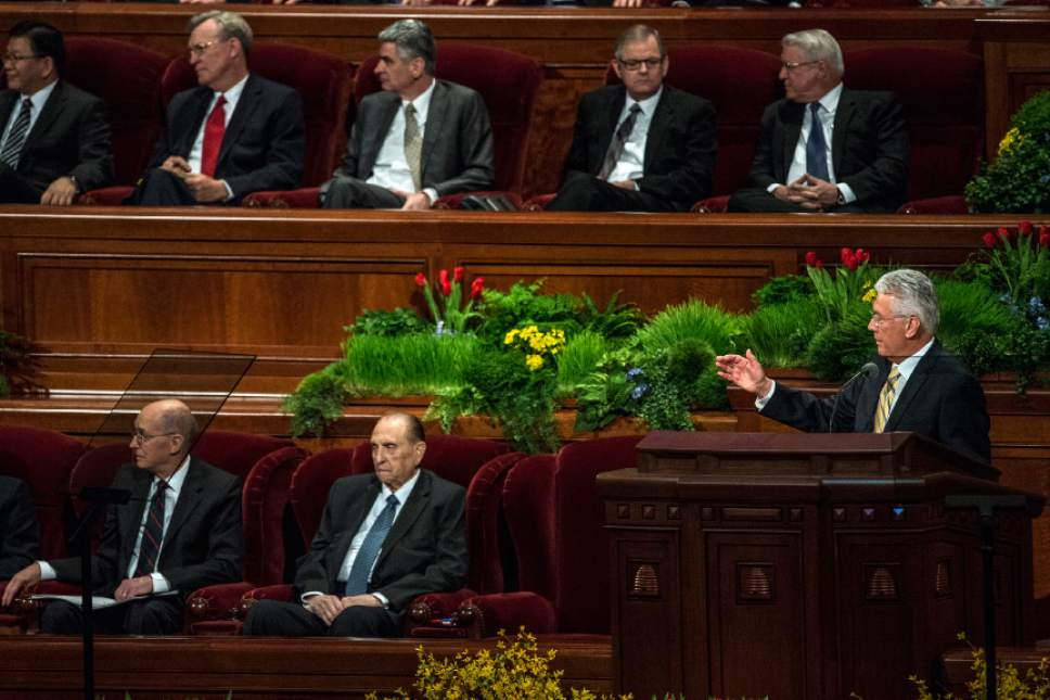 Chris Detrick  |  The Salt Lake Tribune President Dieter F. Uchtdorf, second counselor in the First Presidency, speaks during the afternoon session of the 185th Annual LDS General Conference Saturday April 4, 2015.